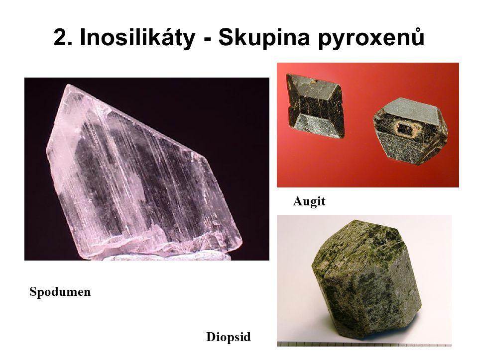 2. Inosilikáty - Skupina pyroxenů Spodumen Augit Diopsid