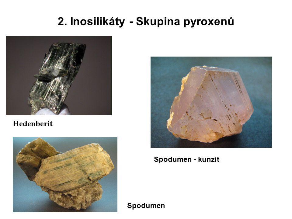 2. Inosilikáty - Skupina pyroxenů Hedenberit Spodumen Spodumen - kunzit
