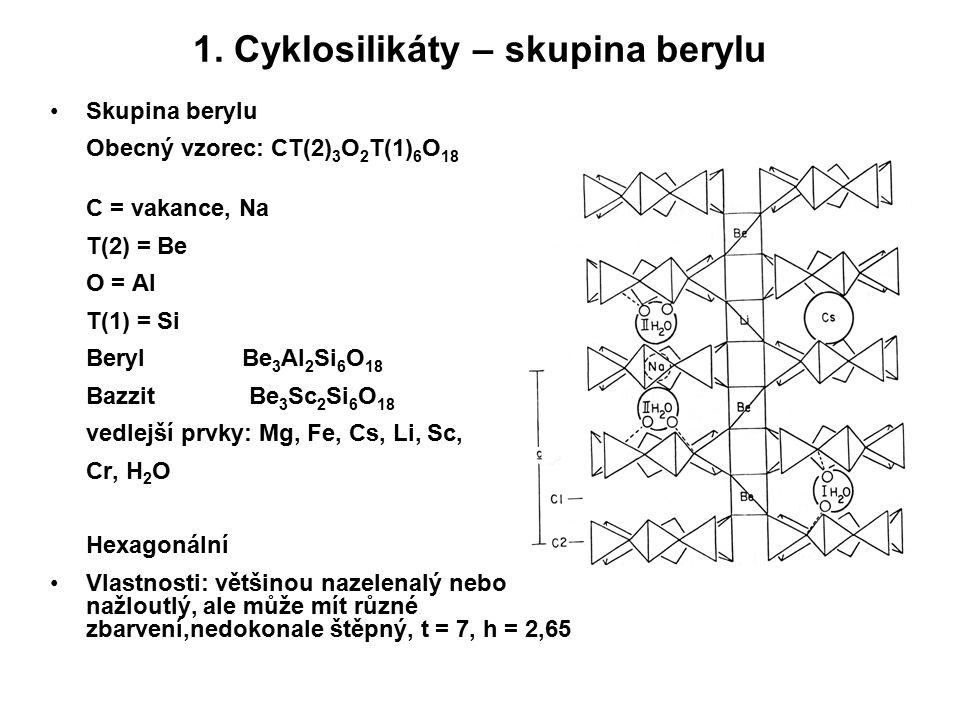 1. Cyklosilikáty – skupina berylu Skupina berylu Obecný vzorec: CT(2) 3 O 2 T(1) 6 O 18 C = vakance, Na T(2) = Be O = Al T(1) = Si BerylBe 3 Al 2 Si 6
