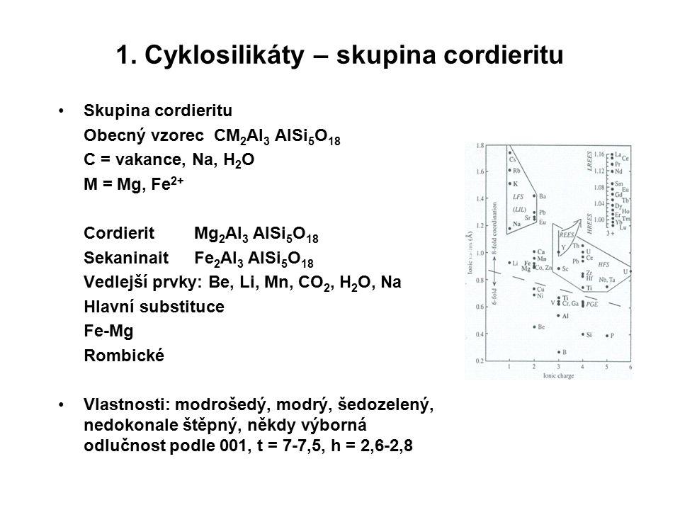 1. Cyklosilikáty – skupina cordieritu Skupina cordieritu Obecný vzorec CM 2 Al 3 AlSi 5 O 18 C = vakance, Na, H 2 O M = Mg, Fe 2+ Cordierit Mg 2 Al 3