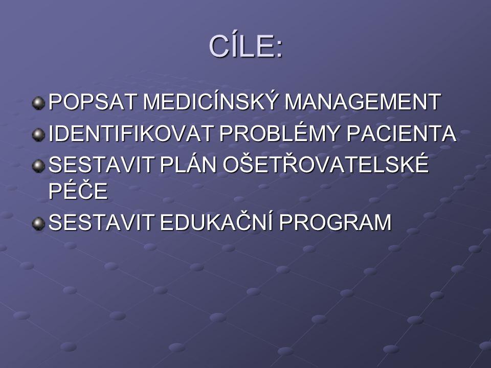 CÍLE: POPSAT MEDICÍNSKÝ MANAGEMENT IDENTIFIKOVAT PROBLÉMY PACIENTA SESTAVIT PLÁN OŠETŘOVATELSKÉ PÉČE SESTAVIT EDUKAČNÍ PROGRAM