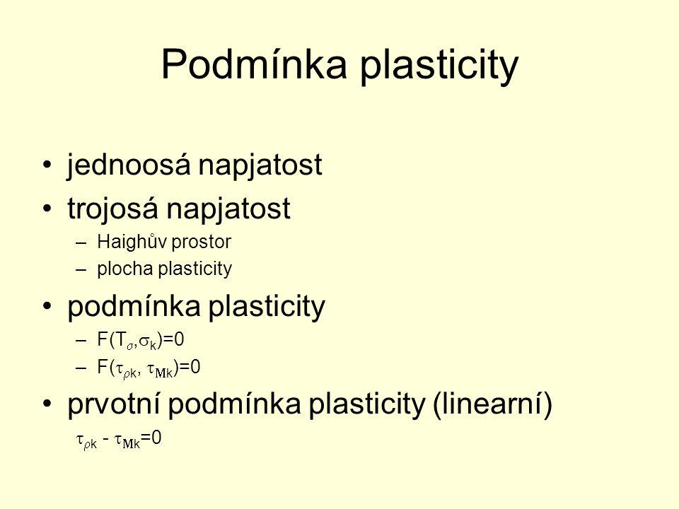 Podmínka plasticity jednoosá napjatost trojosá napjatost –Haighův prostor –plocha plasticity podmínka plasticity –F(T ,  k )=0 –F(   k,   k )=0