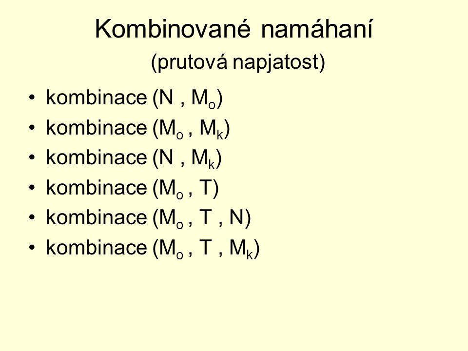 Kombinované namáhaní (prutová napjatost) kombinace (N, M o ) kombinace (M o, M k ) kombinace (N, M k ) kombinace (M o, T) kombinace (M o, T, N) kombin
