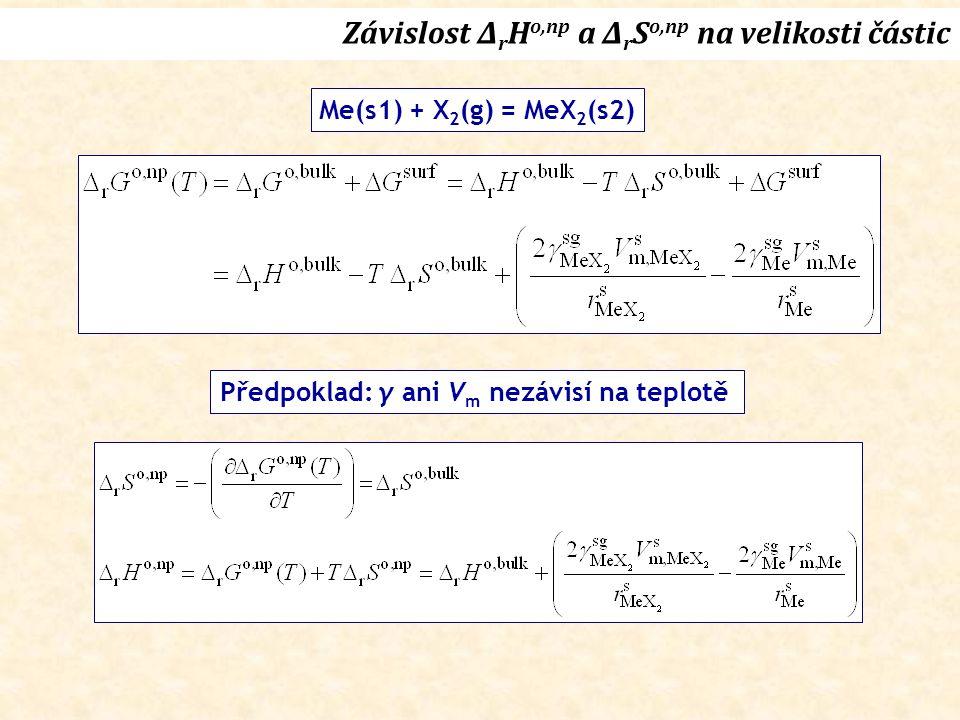 Závislost Δ r H o,np a Δ r S o,np na velikosti částic Me(s1) + X 2 (g) = MeX 2 (s2) Předpoklad: γ ani V m nezávisí na teplotě