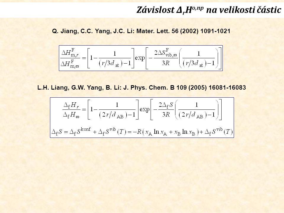 Závislost Δ r H o,np na velikosti částic Q. Jiang, C.C. Yang, J.C. Li: Mater. Lett. 56 (2002) 1091-1021 L.H. Liang, G.W. Yang, B. Li: J. Phys. Chem. B