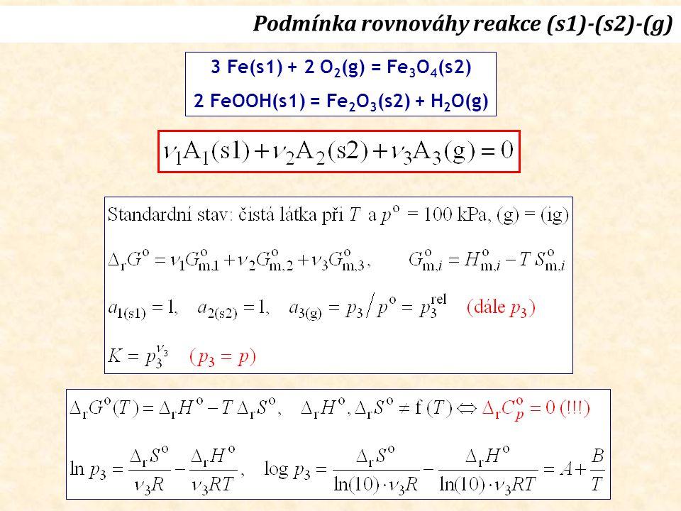 Podmínka rovnováhy reakce (s1)-(s2)-(g) 3 Fe(s1) + 2 O 2 (g) = Fe 3 O 4 (s2) 2 FeOOH(s1) = Fe 2 O 3 (s2) + H 2 O(g)