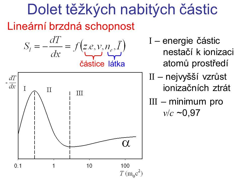 Lineární brzdná schopnost Dolet těžkých nabitých částic částicelátka I – energie částic nestačí k ionizaci atomů prostředí II – nejvyšší vzrůst ioniza