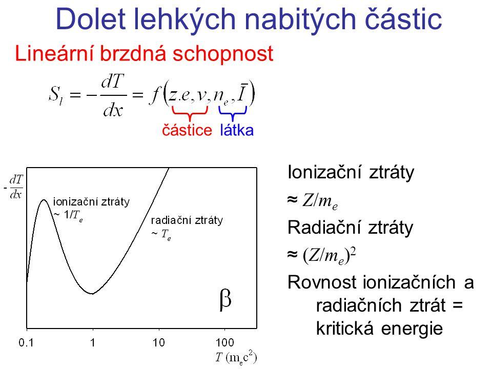 Lineární brzdná schopnost Dolet lehkých nabitých částic částicelátka Ionizační ztráty ≈ Z/m e Radiační ztráty ≈ (Z/m e ) 2 Rovnost ionizačních a radia
