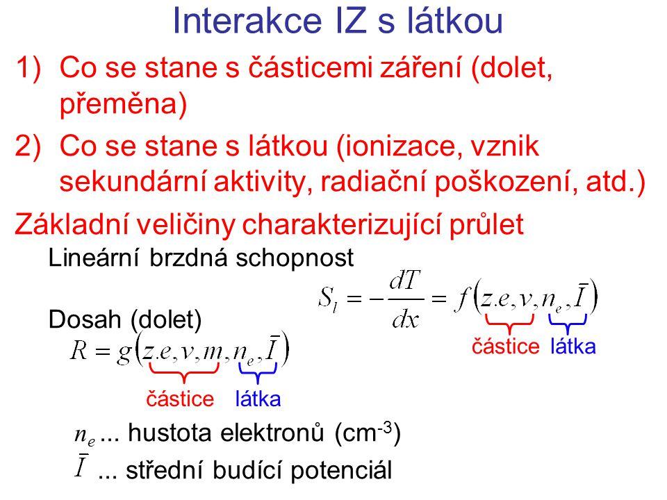 Interakce IZ s látkou 1)Co se stane s částicemi záření (dolet, přeměna) 2)Co se stane s látkou (ionizace, vznik sekundární aktivity, radiační poškozen