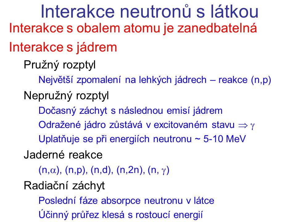 Interakce s obalem atomu je zanedbatelná Interakce s jádrem Pružný rozptyl Největší zpomalení na lehkých jádrech – reakce (n,p) Nepružný rozptyl Dočas