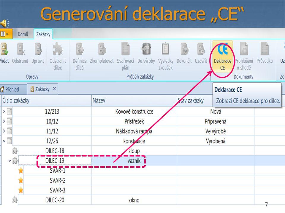 """7 Generování deklarace """"CE"""