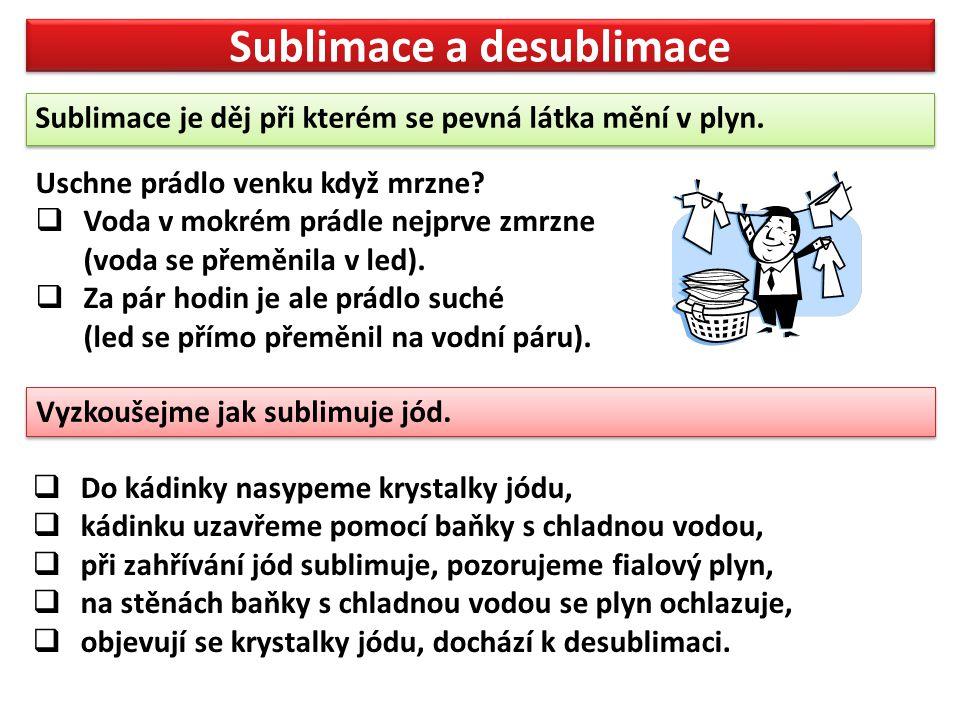 Sublimace a desublimace Sublimace je děj při kterém se pevná látka mění v plyn.