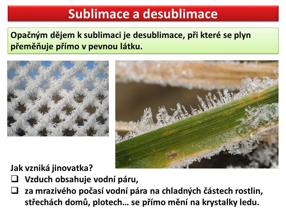 Sublimace a desublimace Opačným dějem k sublimaci je desublimace, při které se plyn přeměňuje přímo v pevnou látku.