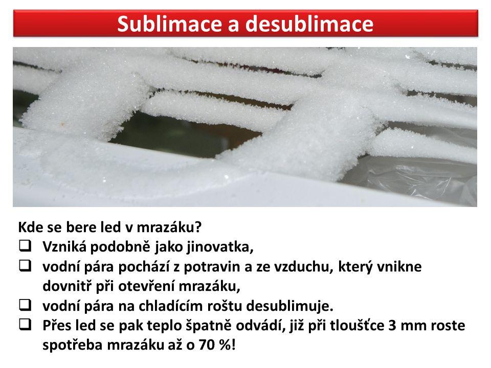 Sublimace a desublimace Kde se bere led v mrazáku.