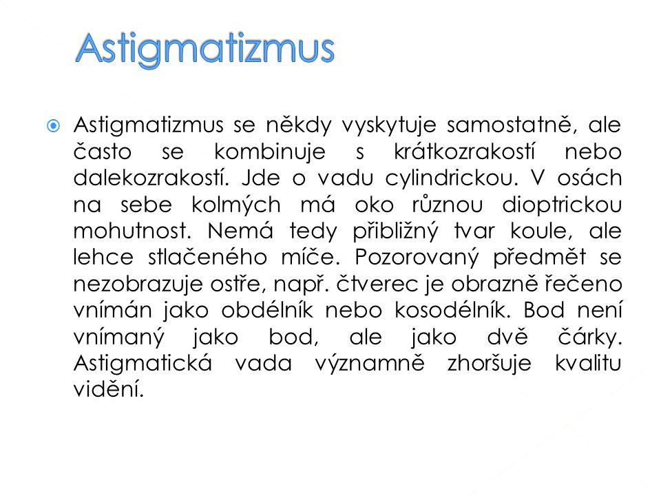  Astigmatizmus se někdy vyskytuje samostatně, ale často se kombinuje s krátkozrakostí nebo dalekozrakostí. Jde o vadu cylindrickou. V osách na sebe k