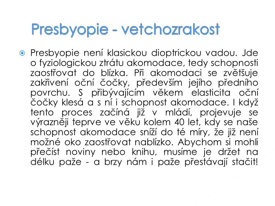  Presbyopie není klasickou dioptrickou vadou.