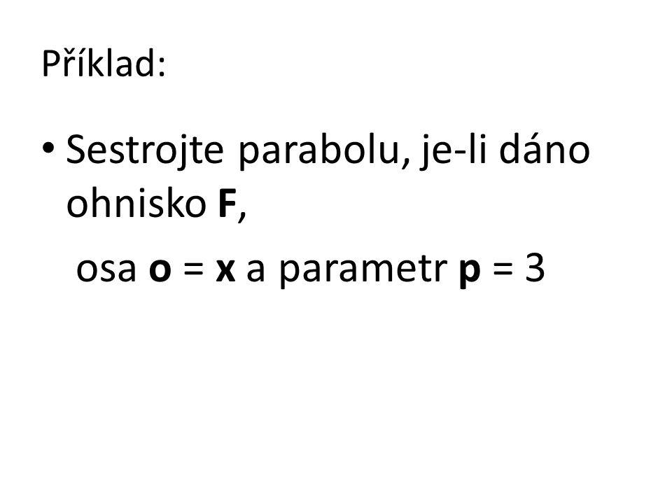 Příklad: Sestrojte parabolu, je-li dáno ohnisko F, osa o = x a parametr p = 3