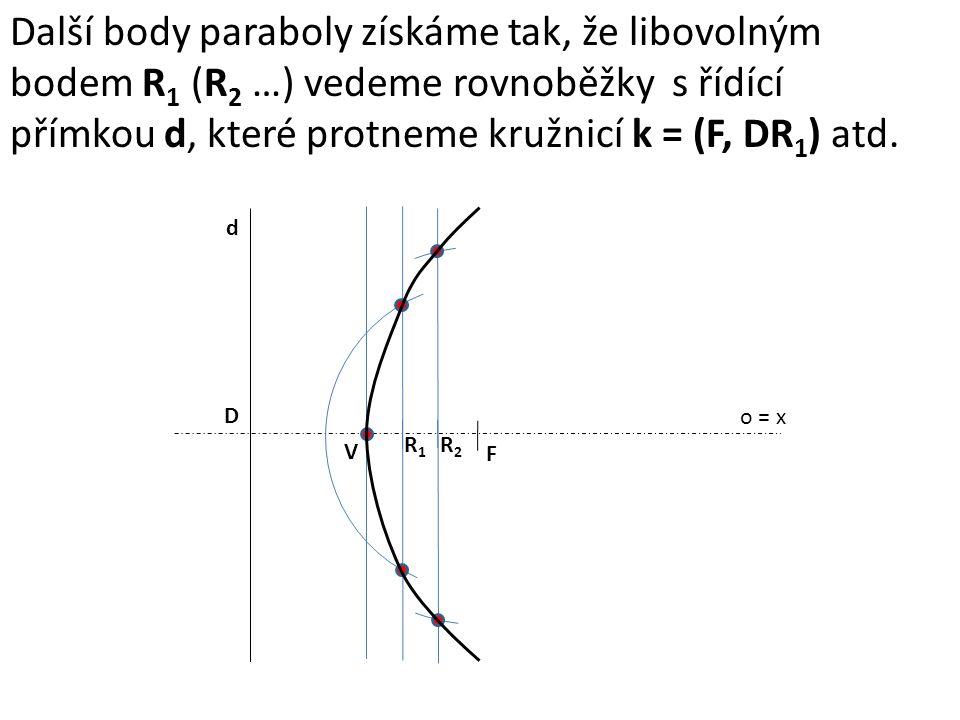 o = x F d D V R1R1 R2R2 Další body paraboly získáme tak, že libovolným bodem R 1 (R 2 …) vedeme rovnoběžky s řídící přímkou d, které protneme kružnicí k = (F, DR 1 ) atd.