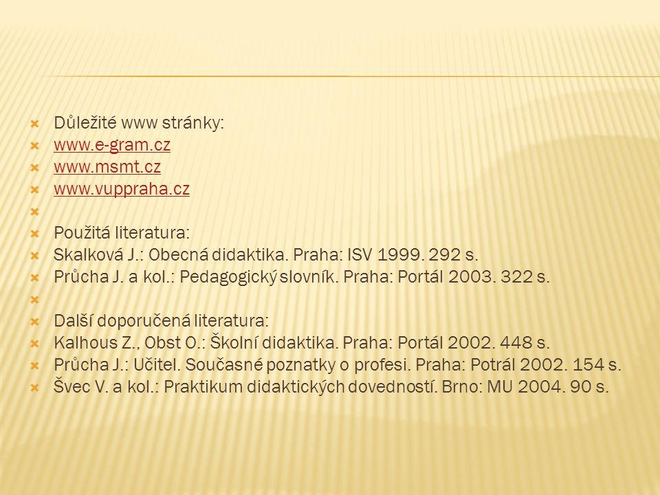  Důležité www stránky:  www.e-gram.cz www.e-gram.cz  www.msmt.cz www.msmt.cz  www.vuppraha.cz www.vuppraha.cz   Použitá literatura:  Skalková J