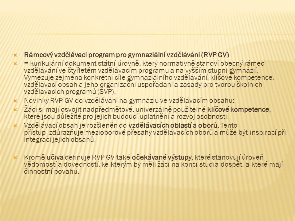  Harmonogram prací na RVP GV:  Úprava RVP GV a schválení dokumentu na MŠMT pro pilotáž tvorby ŠVP podle RVP GV: do června 2004  Vytvoření vzorku pilotních škol: červen 2004  Pilotáž tvorby ŠVP podle RVP GV: září 2004 – březen 2006  Ověřování tvorby ŠVP podle RVP GV na pilotním vzorku gymnázií.