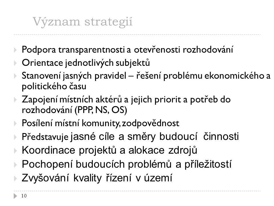 Význam strategií 10  Podpora transparentnosti a otevřenosti rozhodování  Orientace jednotlivých subjektů  Stanovení jasných pravidel – řešení probl