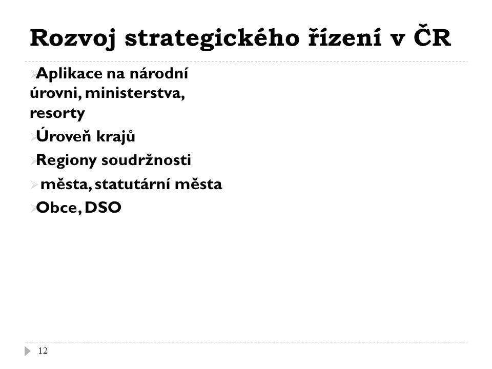 Rozvoj strategického řízení v ČR  Aplikace na národní úrovni, ministerstva, resorty  Úroveň krajů  Regiony soudržnosti  města, statutární města  Obce, DSO 12