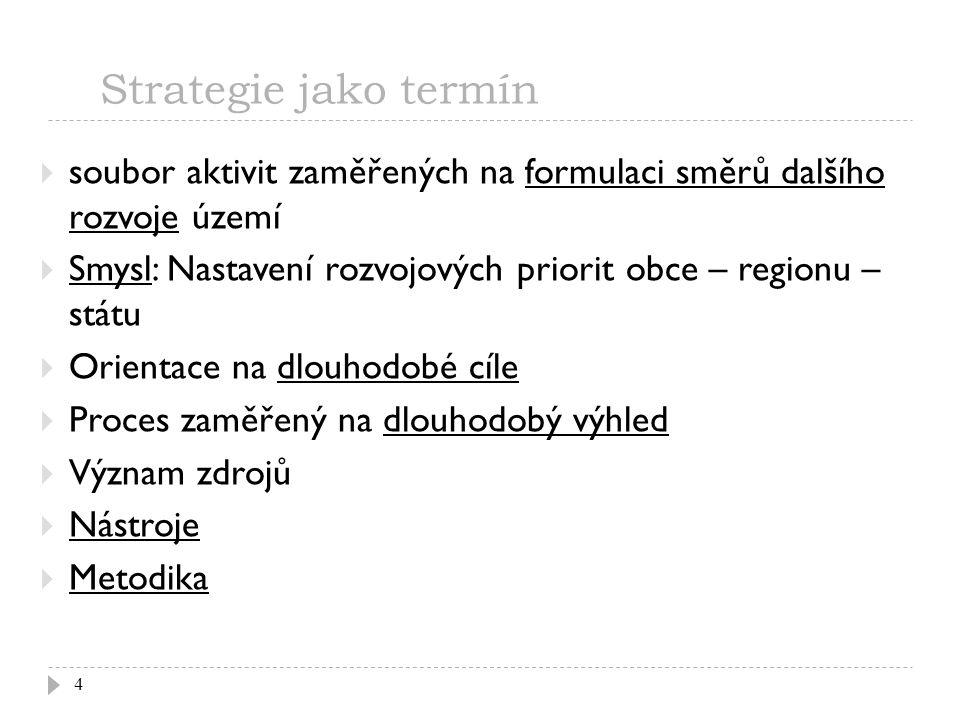 Strategie jako termín 4  soubor aktivit zaměřených na formulaci směrů dalšího rozvoje území  Smysl: Nastavení rozvojových priorit obce – regionu – s