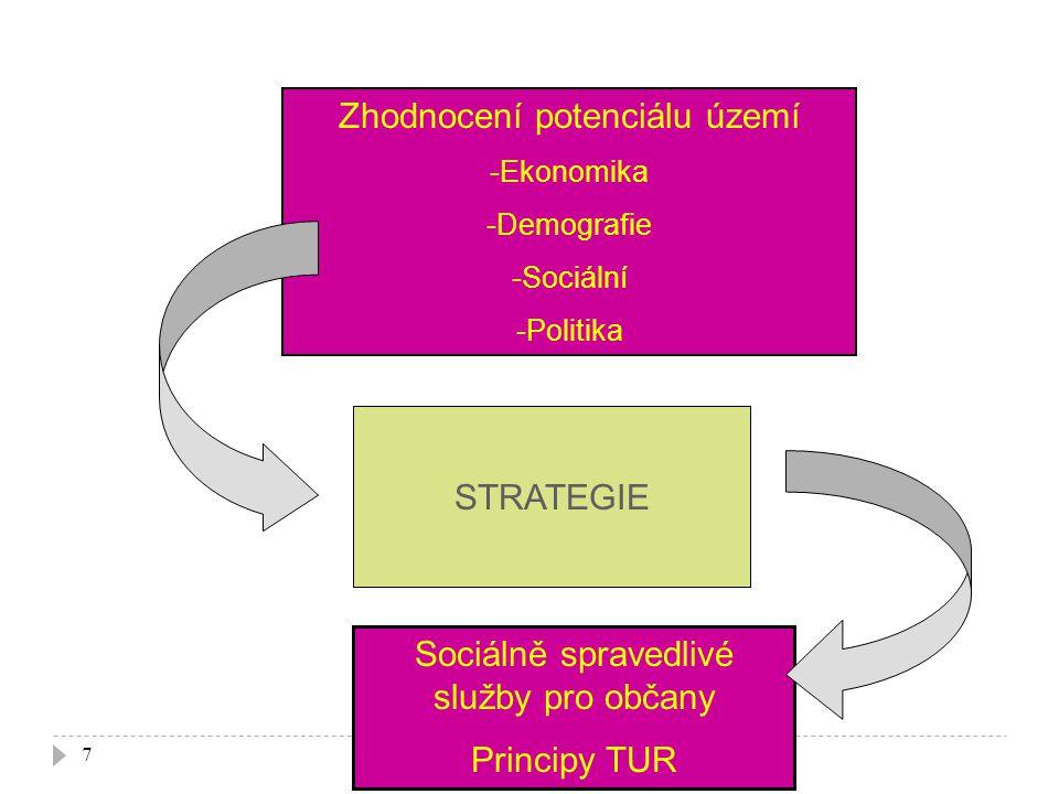 7 Zhodnocení potenciálu území -Ekonomika -Demografie -Sociální -Politika Sociálně spravedlivé služby pro občany Principy TUR STRATEGIE