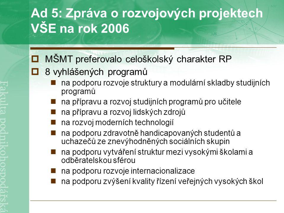 Ad 5: Zpráva o rozvojových projektech VŠE na rok 2006  MŠMT preferovalo celoškolský charakter RP  8 vyhlášených programů na podporu rozvoje struktury a modulární skladby studijních programů na přípravu a rozvoj studijních programů pro učitele na přípravu a rozvoj lidských zdrojů na rozvoj moderních technologií na podporu zdravotně handicapovaných studentů a uchazečů ze znevýhodněných sociálních skupin na podporu vytváření struktur mezi vysokými školami a odběratelskou sférou na podporu rozvoje internacionalizace na podporu zvýšení kvality řízení veřejných vysokých škol