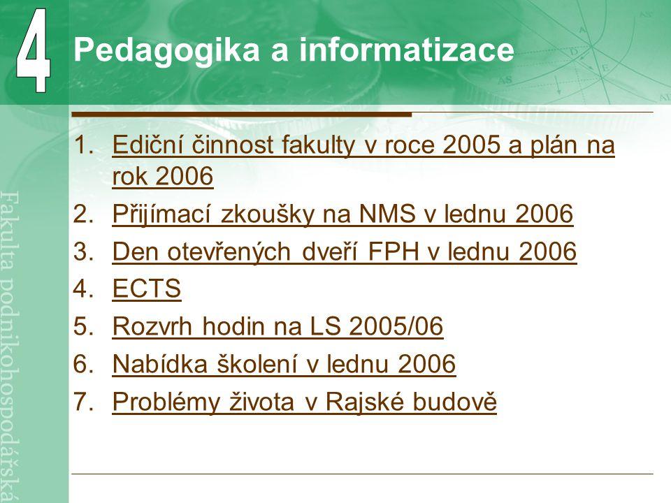 Pedagogika a informatizace 1.Ediční činnost fakulty v roce 2005 a plán na rok 2006Ediční činnost fakulty v roce 2005 a plán na rok 2006 2.Přijímací zkoušky na NMS v lednu 2006Přijímací zkoušky na NMS v lednu 2006 3.Den otevřených dveří FPH v lednu 2006Den otevřených dveří FPH v lednu 2006 4.ECTSECTS 5.Rozvrh hodin na LS 2005/06Rozvrh hodin na LS 2005/06 6.Nabídka školení v lednu 2006Nabídka školení v lednu 2006 7.Problémy života v Rajské budověProblémy života v Rajské budově