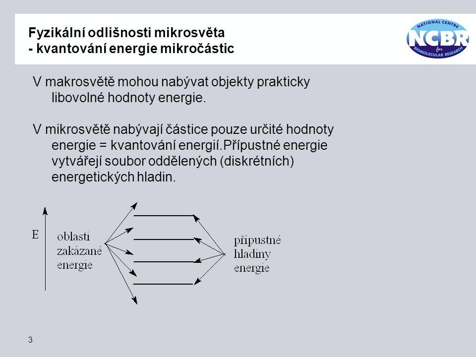 Fyzikální odlišnosti mikrosvěta - kvantování energie mikročástic II Přechod částic z jedné hladiny na druhou je možný a je spojen s přijetím nebo odevzdáním množství energie, které odpovídá energetické vzdálenosti hladin.
