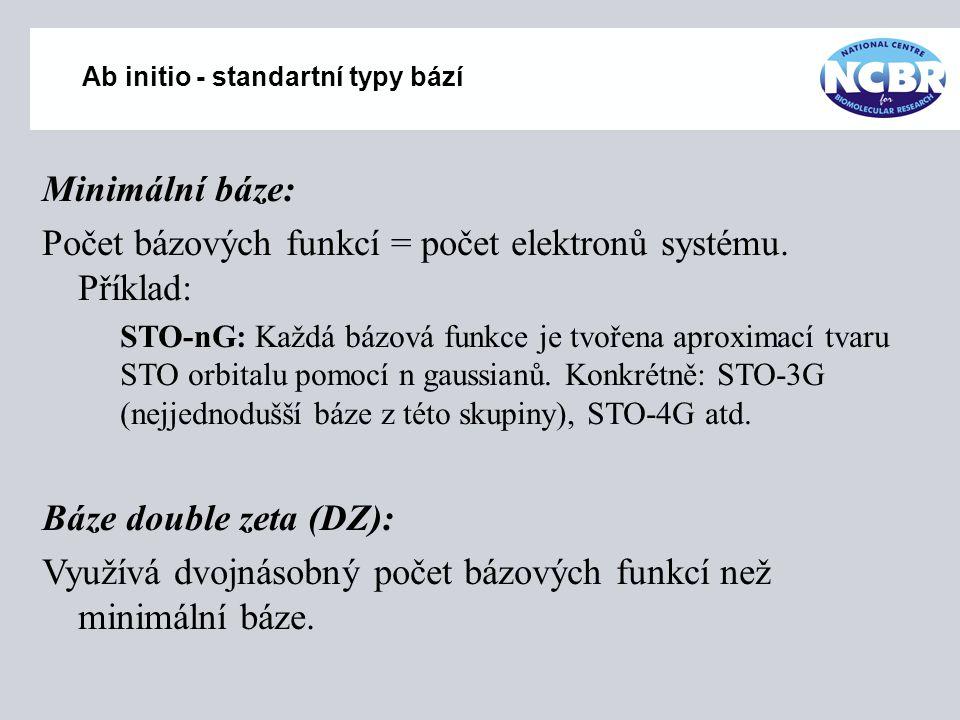 Ab initio - standartní typy bází Minimální báze: Počet bázových funkcí = počet elektronů systému. Příklad: STO-nG: Každá bázová funkce je tvořena apro