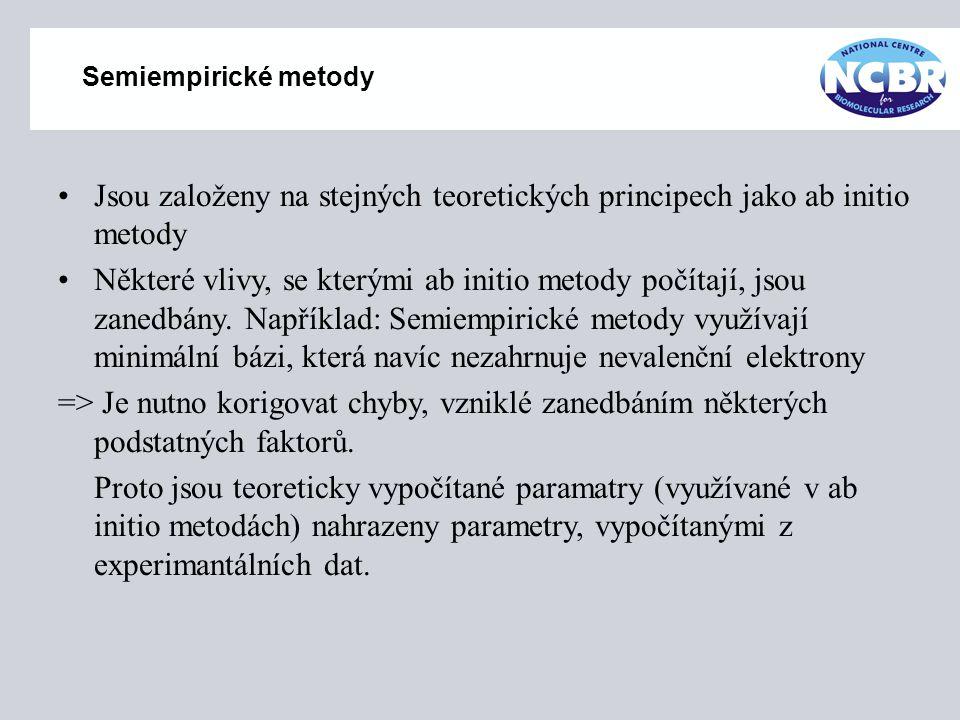 Semiempirické metody Jsou založeny na stejných teoretických principech jako ab initio metody Některé vlivy, se kterými ab initio metody počítají, jsou