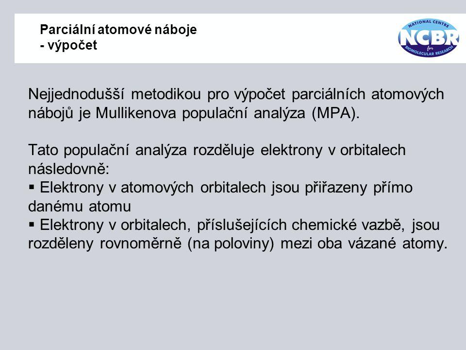 Parciální atomové náboje - výpočet Nejjednodušší metodikou pro výpočet parciálních atomových nábojů je Mullikenova populační analýza (MPA). Tato popul