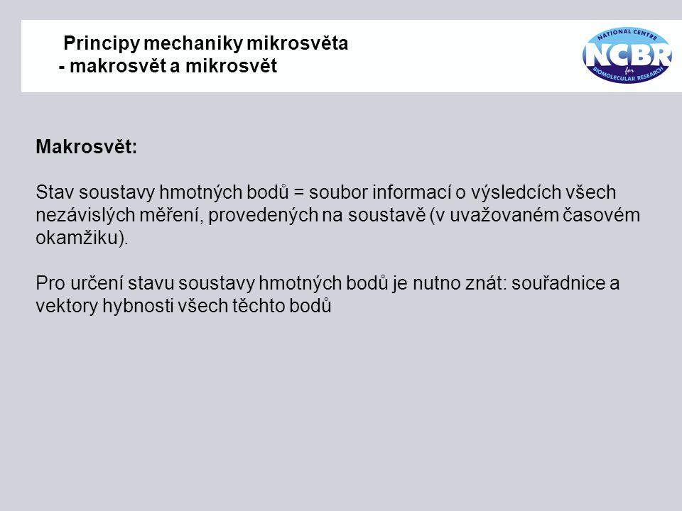 Principy mechaniky mikrosvěta - makrosvět a mikrosvět Makrosvět: Stav soustavy hmotných bodů = soubor informací o výsledcích všech nezávislých měření,