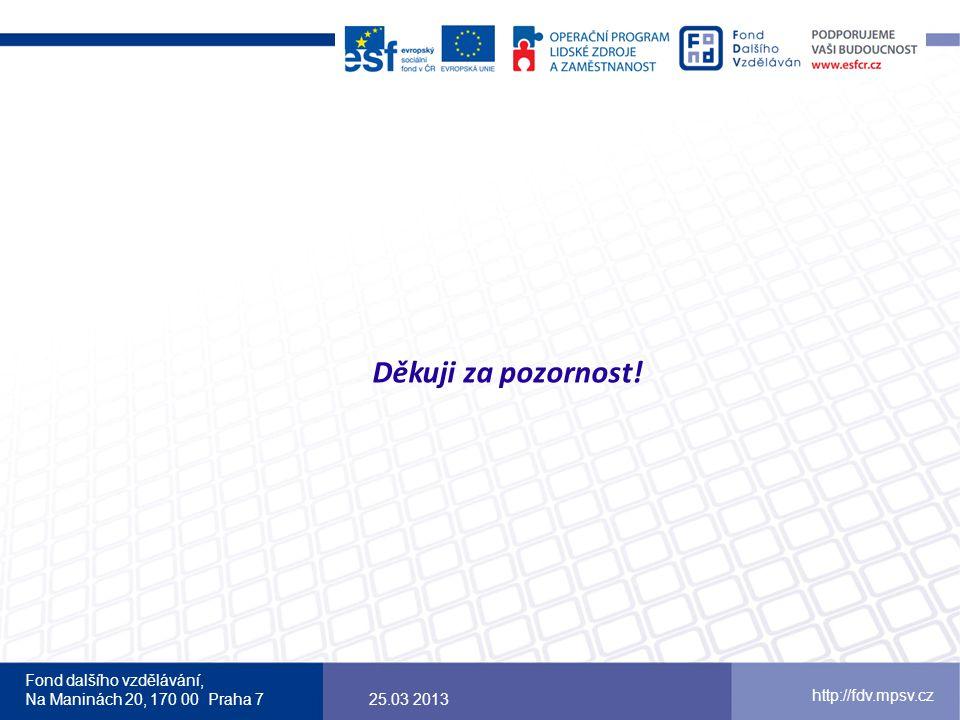 Fond dalšího vzdělávání, Na Maninách 20, 170 00 Praha 7 http://fdv.mpsv.cz Děkuji za pozornost! 25.03 2013