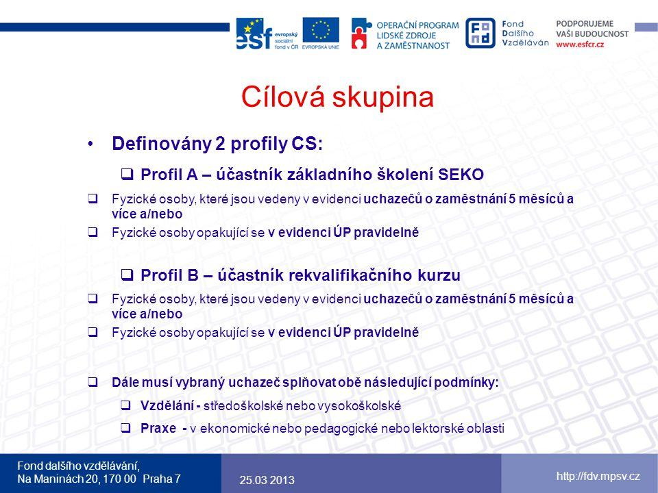 Fond dalšího vzdělávání, Na Maninách 20, 170 00 Praha 7 http://fdv.mpsv.cz Cílová skupina 25.03 2013 Definovány 2 profily CS:  Profil A – účastník zá