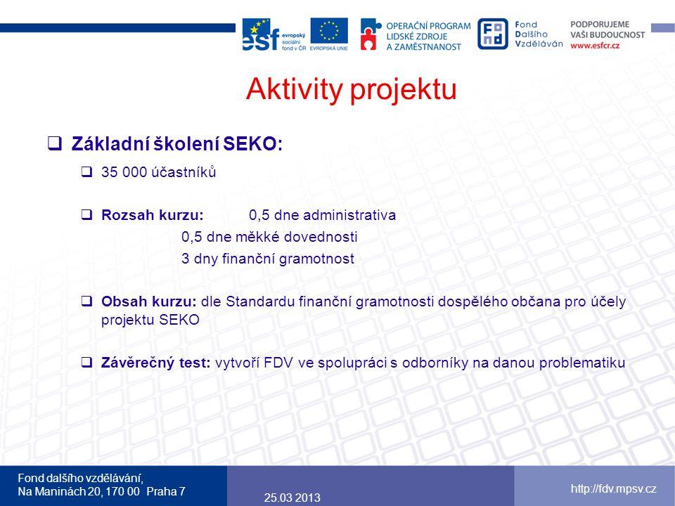 Fond dalšího vzdělávání, Na Maninách 20, 170 00 Praha 7 http://fdv.mpsv.cz Aktivity projektu  Základní školení SEKO:  35 000 účastníků  Rozsah kurz