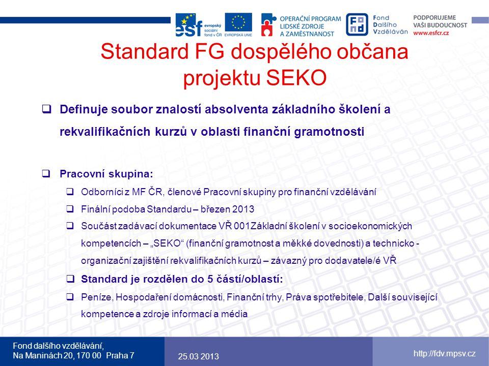 Fond dalšího vzdělávání, Na Maninách 20, 170 00 Praha 7 http://fdv.mpsv.cz Standard FG dospělého občana projektu SEKO  Definuje soubor znalostí absol