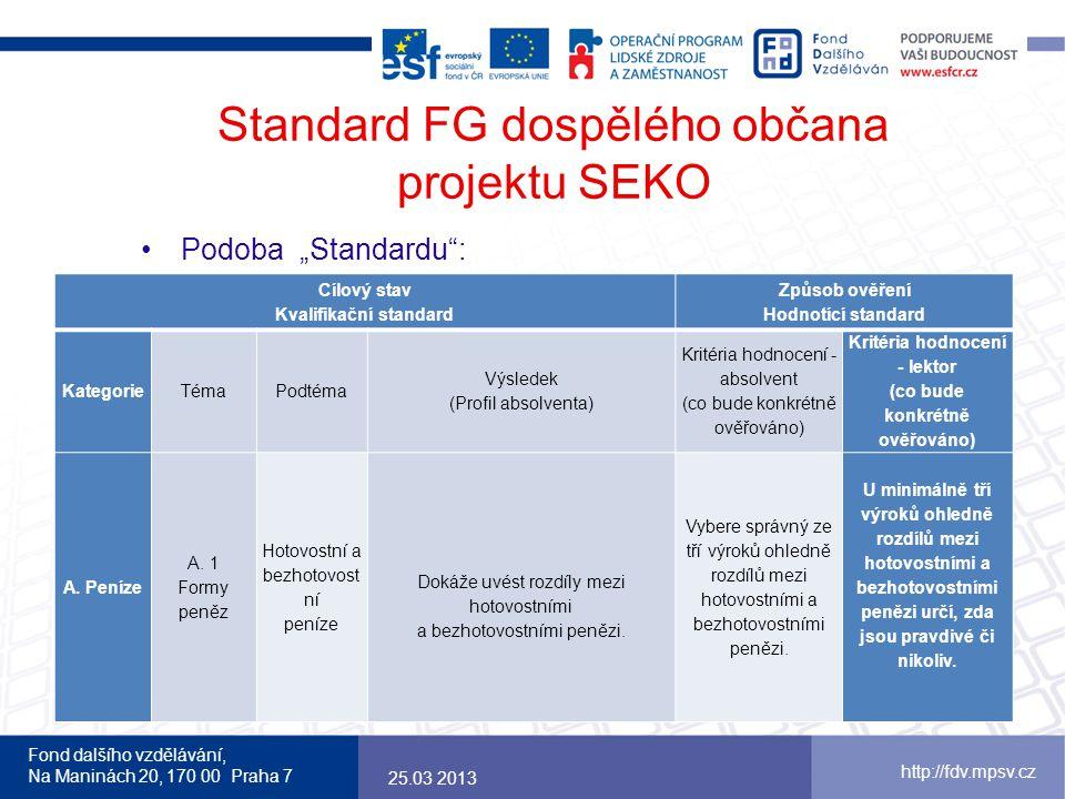 """Fond dalšího vzdělávání, Na Maninách 20, 170 00 Praha 7 http://fdv.mpsv.cz Standard FG dospělého občana projektu SEKO Podoba """"Standardu"""": 25.03 2013 C"""