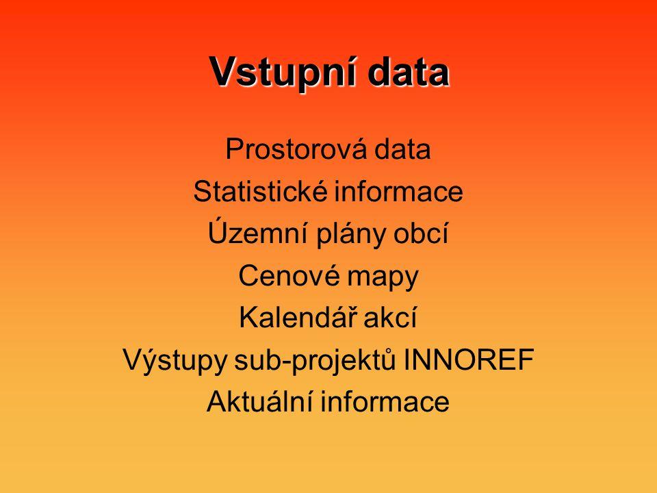 Vstupní data Prostorová data Statistické informace Územní plány obcí Cenové mapy Kalendář akcí Výstupy sub-projektů INNOREF Aktuální informace