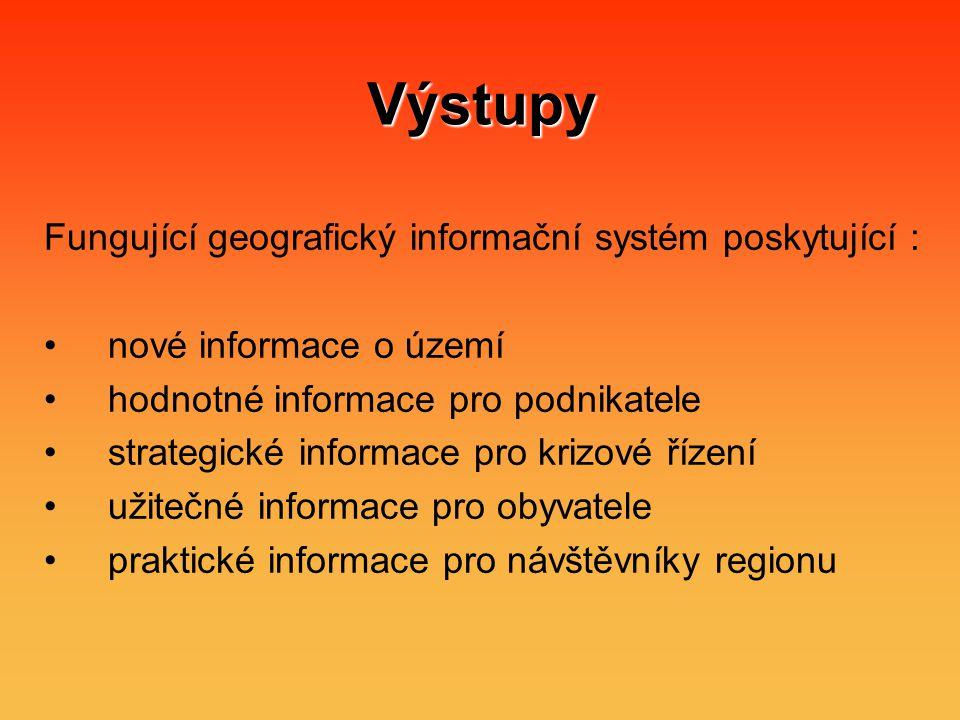Výstupy Fungující geografický informační systém poskytující : nové informace o území hodnotné informace pro podnikatele strategické informace pro krizové řízení užitečné informace pro obyvatele praktické informace pro návštěvníky regionu
