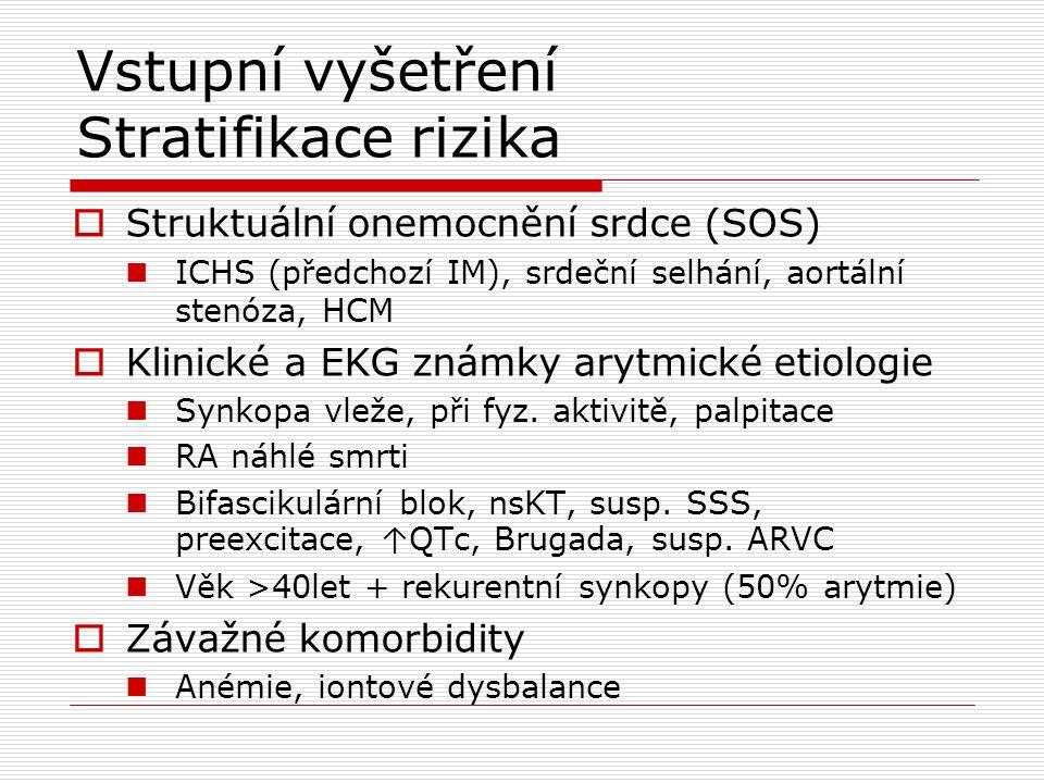 Vstupní vyšetření Stratifikace rizika  Struktuální onemocnění srdce (SOS) ICHS (předchozí IM), srdeční selhání, aortální stenóza, HCM  Klinické a EK