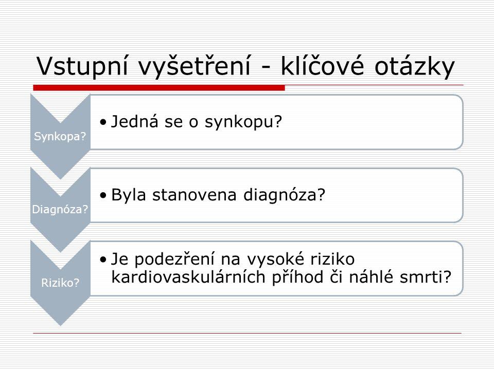 Vstupní vyšetření - klíčové otázky Synkopa? Jedná se o synkopu? Diagnóza? Byla stanovena diagnóza? Riziko? Je podezření na vysoké riziko kardiovaskulá