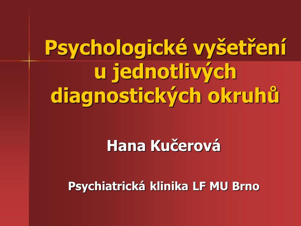 Psychologické vyšetření je systematický a klinickým psychologem řízený proces, jehož cílem je poznání psychiky pacienta, případně i toho, co ji v konkrétním případě ovlivňuje, utváří a modifikuje je systematický a klinickým psychologem řízený proces, jehož cílem je poznání psychiky pacienta, případně i toho, co ji v konkrétním případě ovlivňuje, utváří a modifikuje diagnostika poruch vývoje diagnostika poruch vývoje diagnostika poruch zdraví diagnostika poruch zdraví indikace preventivních, léčebných a rehabilitačních opatření indikace preventivních, léčebných a rehabilitačních opatření kontrola výsledků léčby kontrola výsledků léčby posudková a znalecká činnost posudková a znalecká činnost