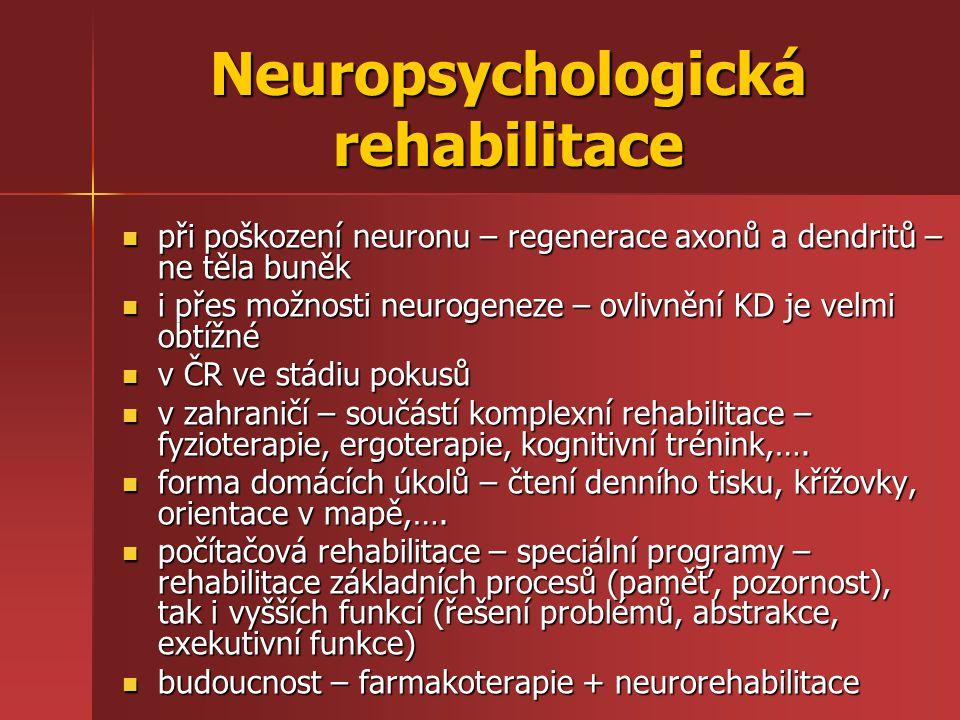 Neuropsychologická rehabilitace při poškození neuronu – regenerace axonů a dendritů – ne těla buněk při poškození neuronu – regenerace axonů a dendrit