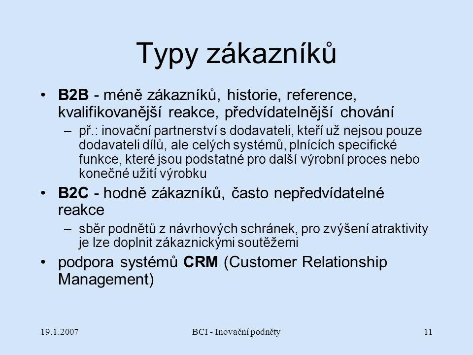 19.1.2007BCI - Inovační podněty11 Typy zákazníků B2B - méně zákazníků, historie, reference, kvalifikovanější reakce, předvídatelnější chování –př.: in