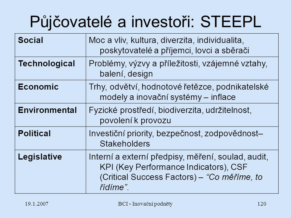 19.1.2007BCI - Inovační podněty120 Půjčovatelé a investoři: STEEPL SocialMoc a vliv, kultura, diverzita, individualita, poskytovatelé a příjemci, lovc