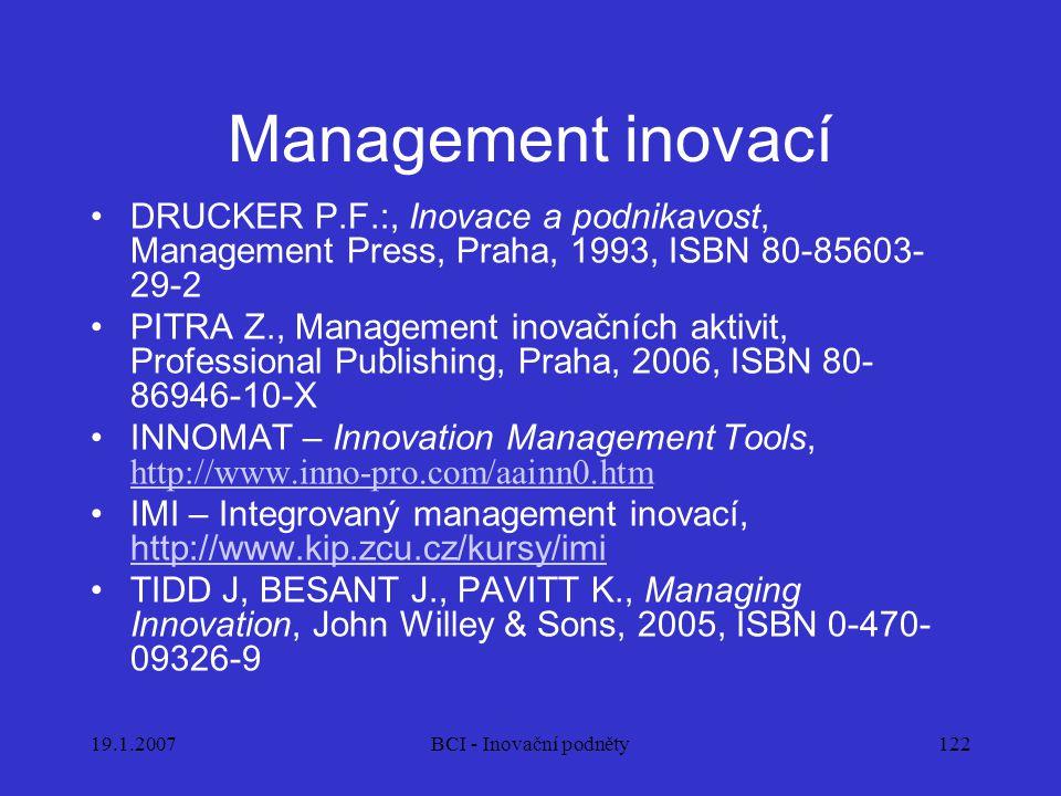 19.1.2007BCI - Inovační podněty122 Management inovací DRUCKER P.F.:, Inovace a podnikavost, Management Press, Praha, 1993, ISBN 80-85603- 29-2 PITRA Z