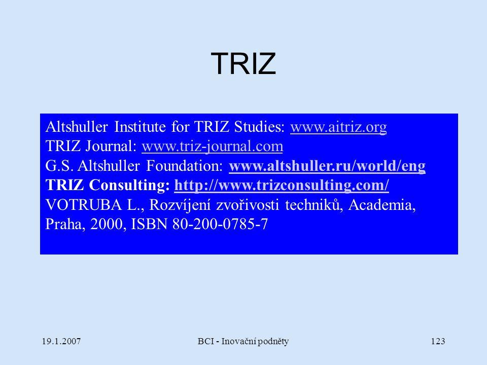 19.1.2007BCI - Inovační podněty123 TRIZ Altshuller Institute for TRIZ Studies: www.aitriz.orgwww.aitriz.org TRIZ Journal: www.triz-journal.comwww.triz